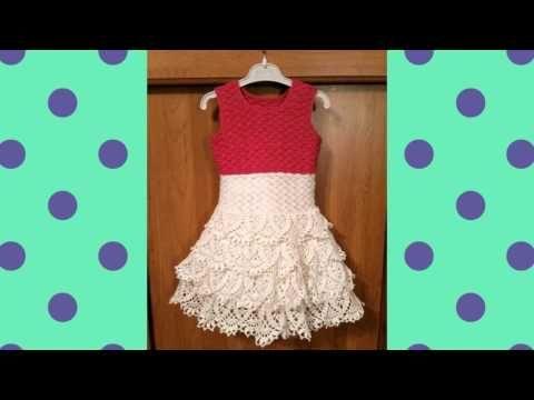 Vestido tejido a crochet para niña de 10 años - YouTube