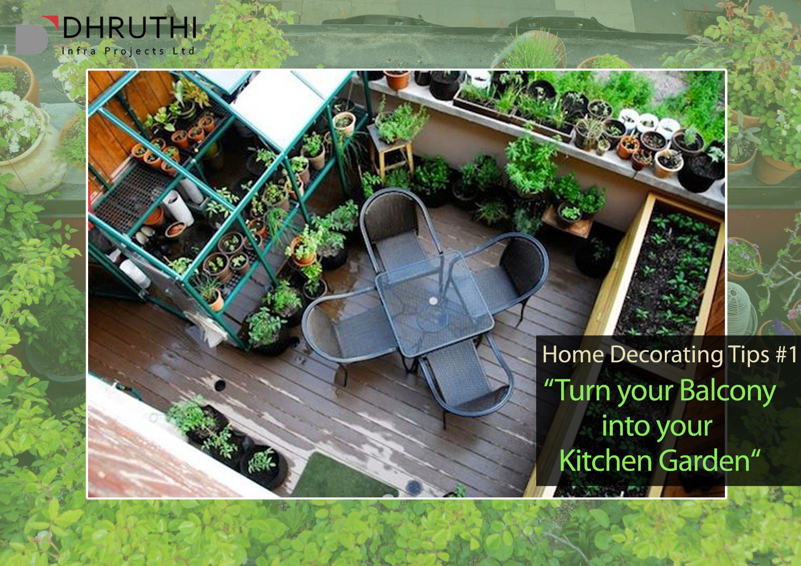 #HomeDecoratingTip #1 - Your Home Your Pride. Style your Home Organically.    Planning to purchase a spacious apartment with balcony? Then make your organic vegetables in your balcony!   Decorating your home with Plants is a brilliant way to reduce pollutants in your home as they are natural air sterilizers.  Book your home at Tranquil Towers goo.gl/2QfeG0 and lead a healthy life by planning a Go Green interior.   #HomeGarden #HomeDecoration #GoGreen