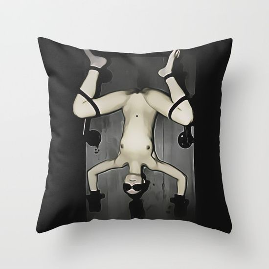 art of bondage torture bed girl nude tied slave throw pillow