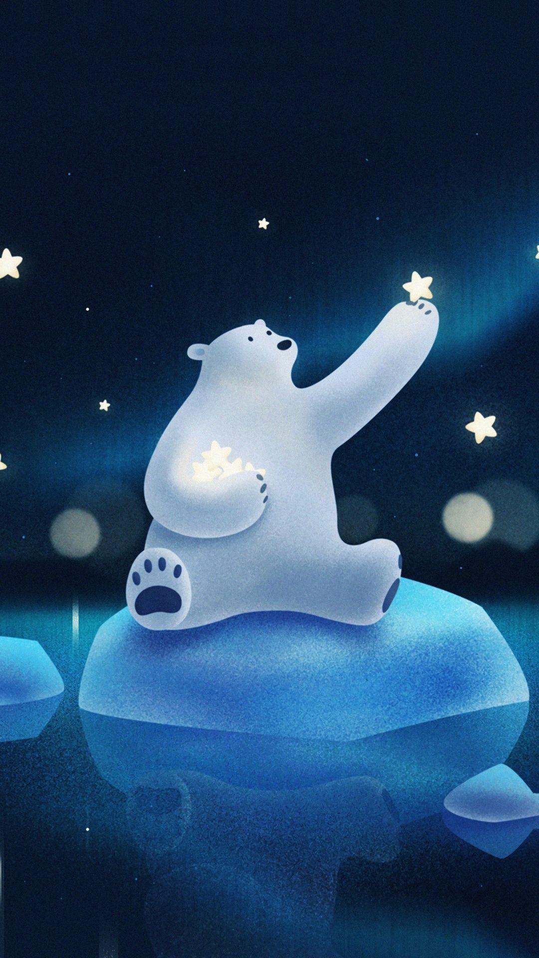Illustration, white, polar, bear, artwork, star, snowfall