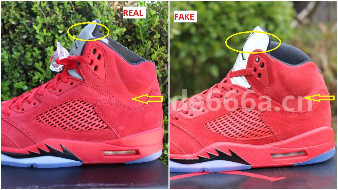 51ab710aae9ba3 Fake Air Jordan 5 University Red Suede Spotted-Quick Ways To Spot Them