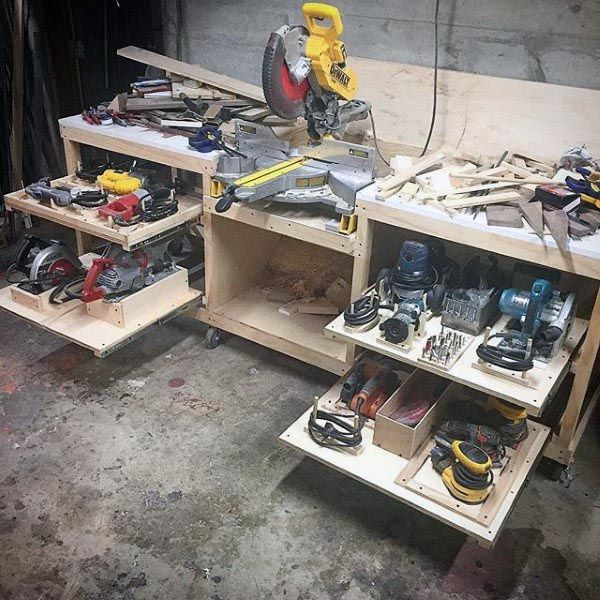 Custom Slide Out Cabinet Workshop Power Tool Storage Ideas