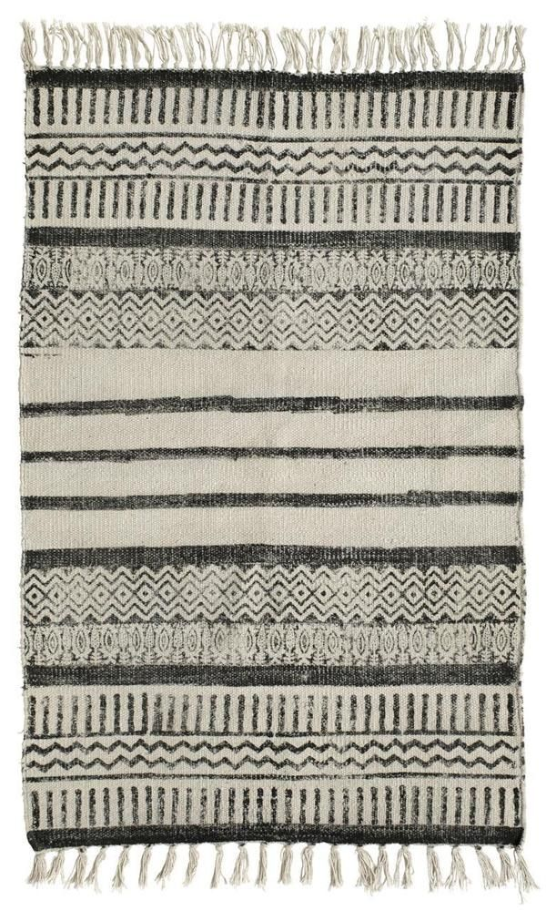 28,50 Teppich Vorleger 60 x 90 Ethno schwarz weiß Vintage