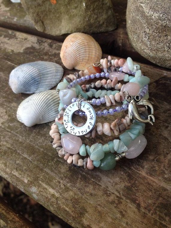I AM dancing the spiral of love: five wrap beaded memory bracelet with metal stamped charm on Etsy, $40.00