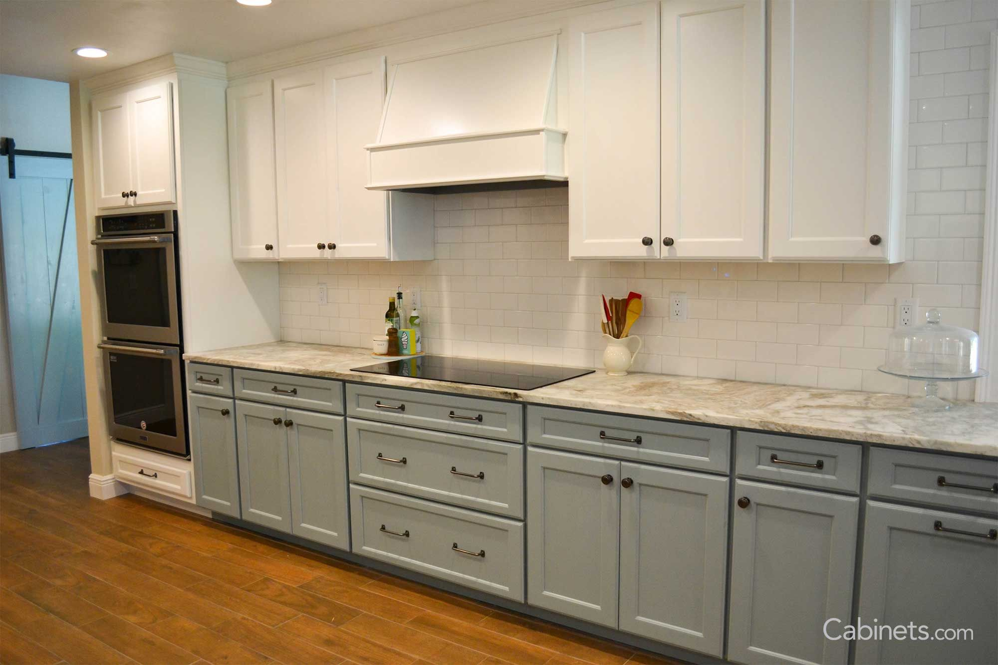 Coastal Two Tone Galley Kitchen With Wood Hood Cabinets Com In 2020 Kitchen Cabinets Kitchen Renovation Kitchen Cabinet Trends