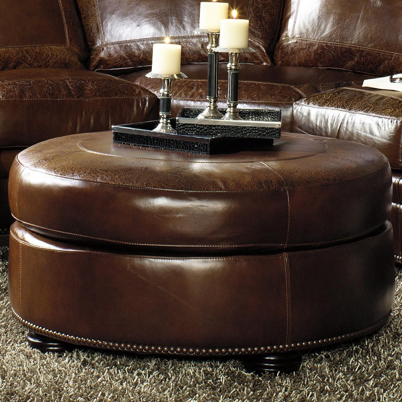 - Brown Round Leather Ottoman Round Ottoman W/ Bun Feet Leather