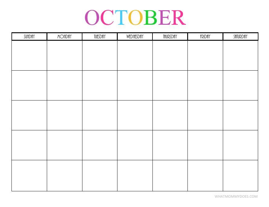 photograph regarding Free Printable October Calendars called Totally free Printable Blank Regular Calendars 2018, 2019, 2020