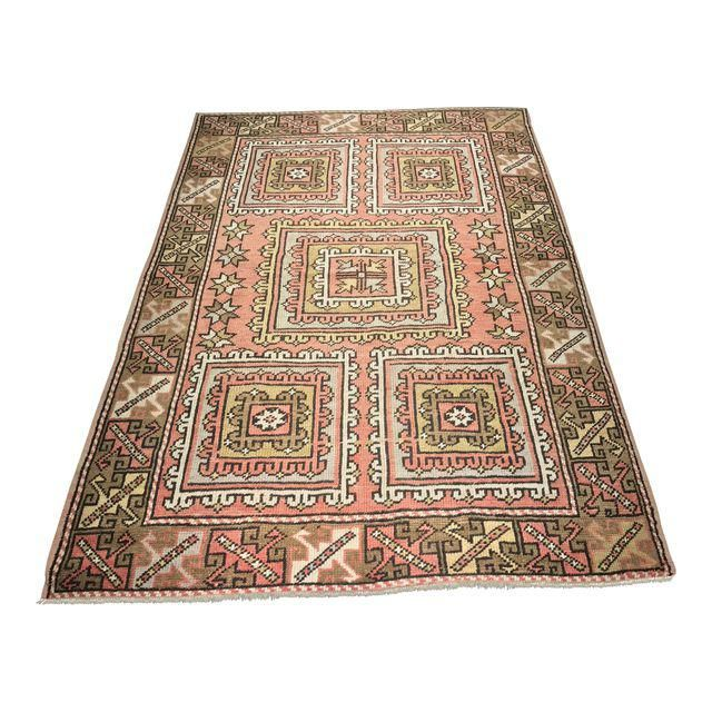 "Image of Vintage Square Pattern Turkish Oushak Rug - 4'2"" x 6'"