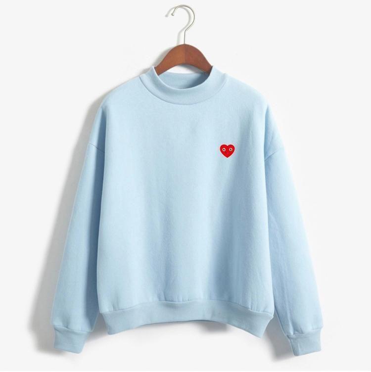 Nuevo 2017 Otoño Invierno Manga Larga Pequeño Amor Corazón Impreso Fleece Grueso Sudadera Harajuku Mujeres Hoodies Moletom Feminino - azul / XXL | Modelos de suéter de punto | #amor