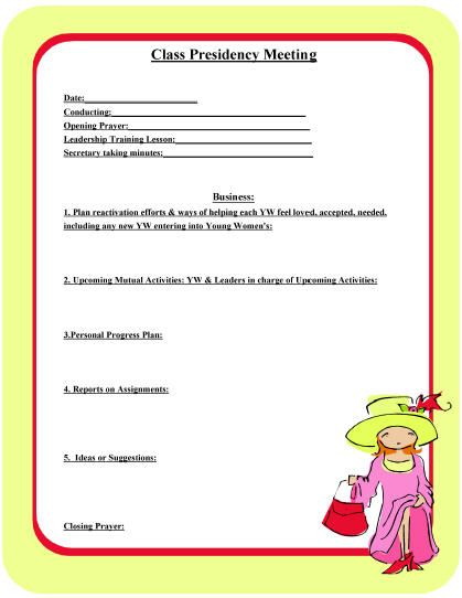 Class Presidency Meeting Agenda YW Pinterest Young women - sample meeting agenda