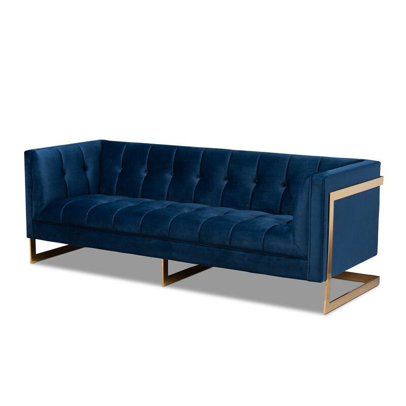 Janis Sofa In 2020 Gold Sofa Blue Velvet Sofa Blue Velvet Fabric