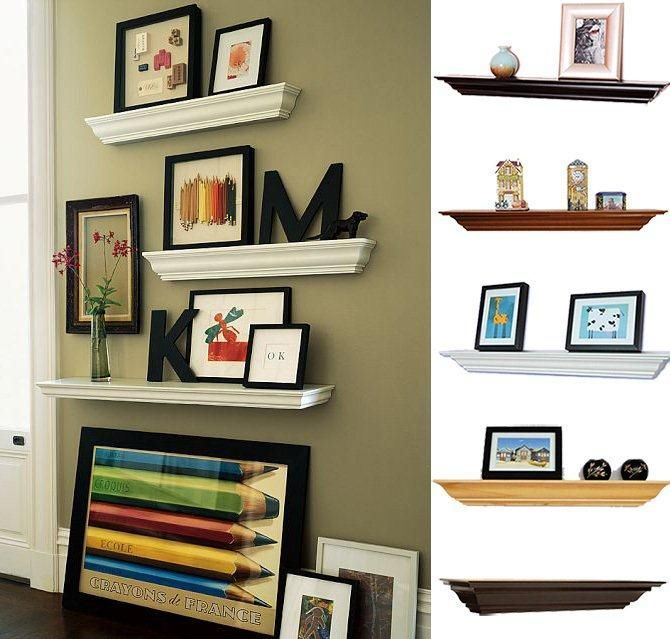 Welland Crown Molding Floating Wood Wall Shelves Fireplace Shelf