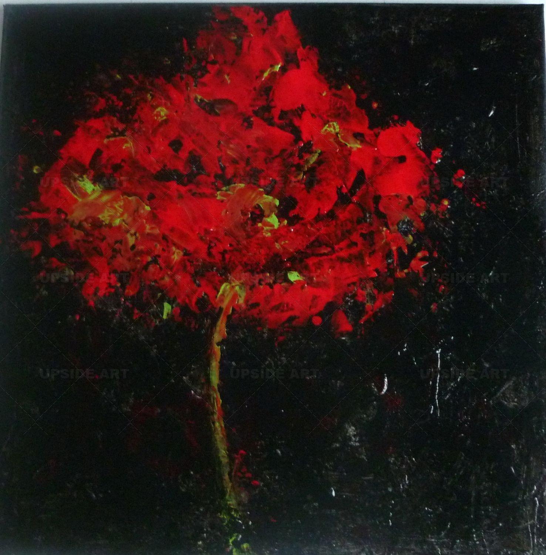 peinture eclosion tableau abstrait contemporain en rouge. Black Bedroom Furniture Sets. Home Design Ideas