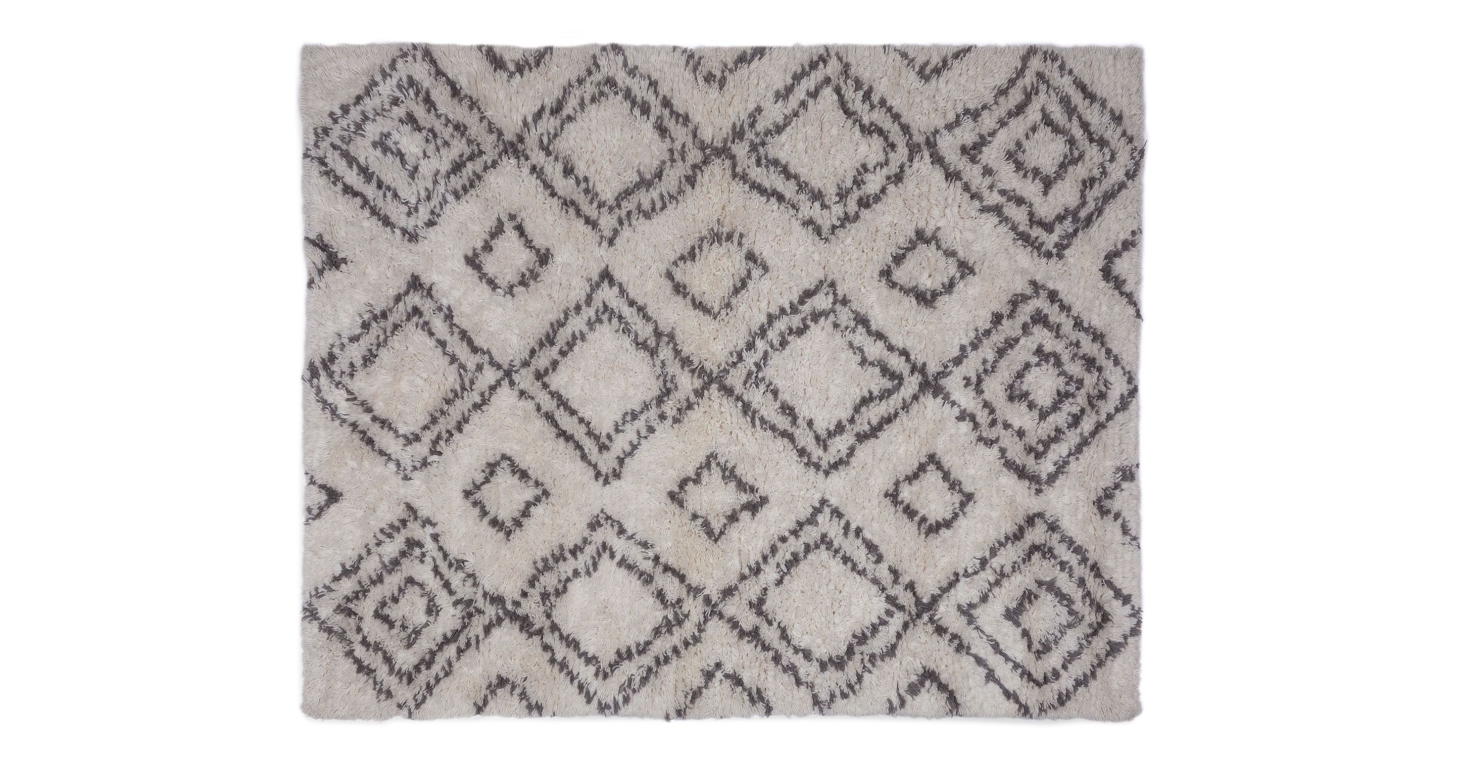 Ivory gray wool rug handmade article taza contemporary
