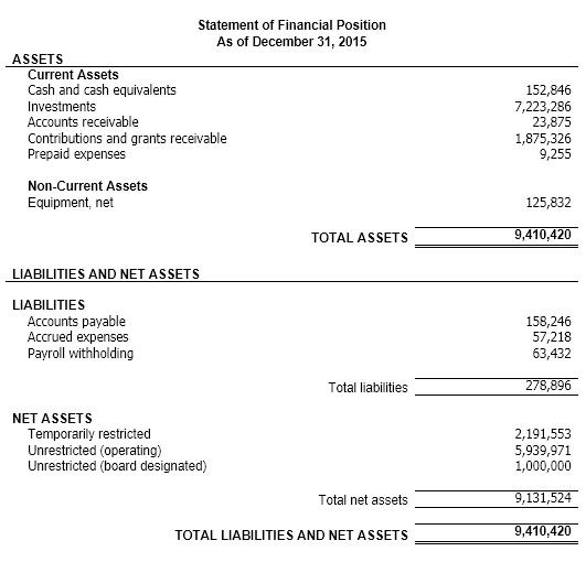 Understanding Nonprofit Financial Statements  Financial Statement