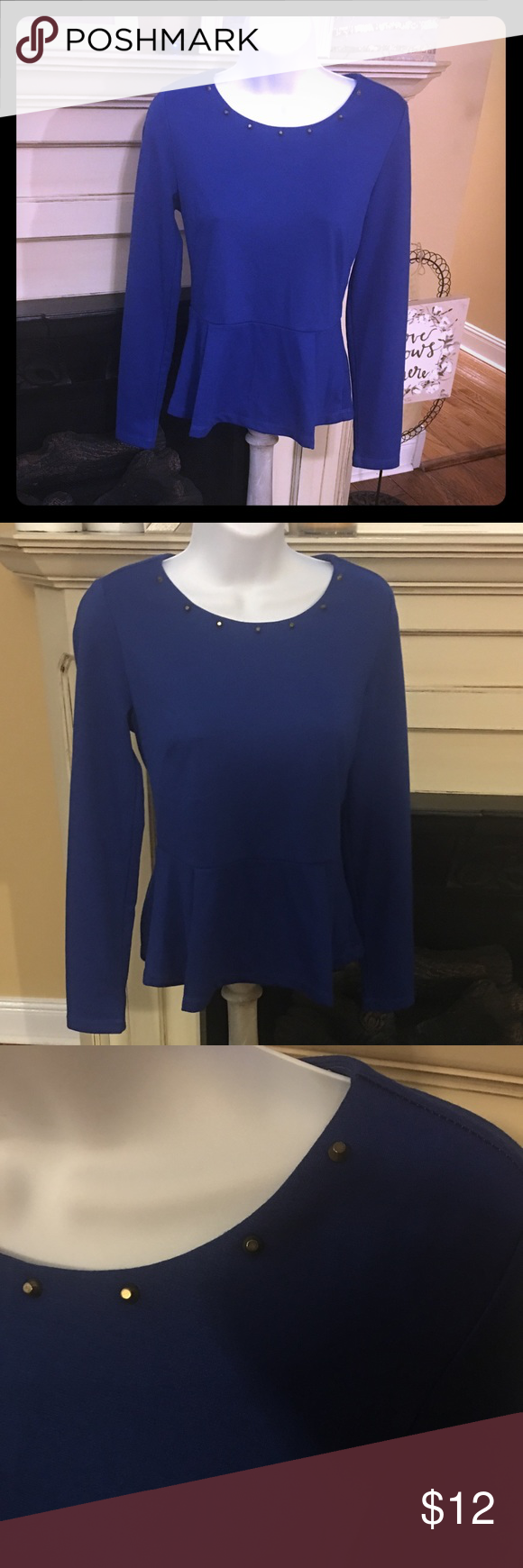 Ponte Knit Peplum Top Gorgeous hue of blue. Perfect condition. This piece is so elegant it looks like it belongs in a high end boutique. Zipper in back. Perfectly placed pleats at the ruffle Forever 21 Tops Blouses