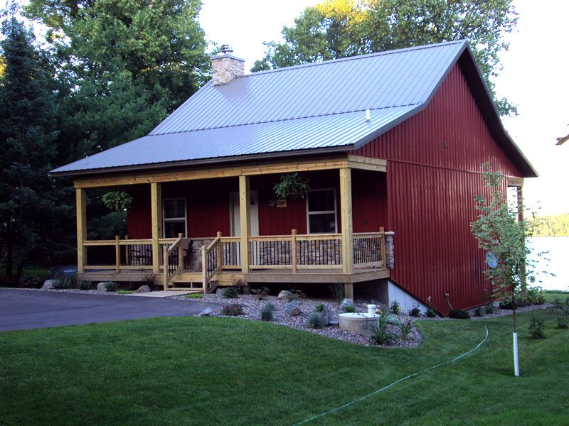 Rare cosy metal barn w porch stone fireplace hq for Barn with porch
