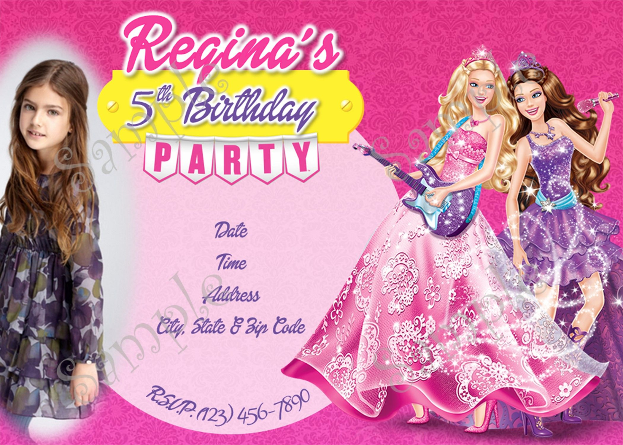 Barbie Princess and the Pop Star Birthday Invitation 5x7 or 4x6 Inches