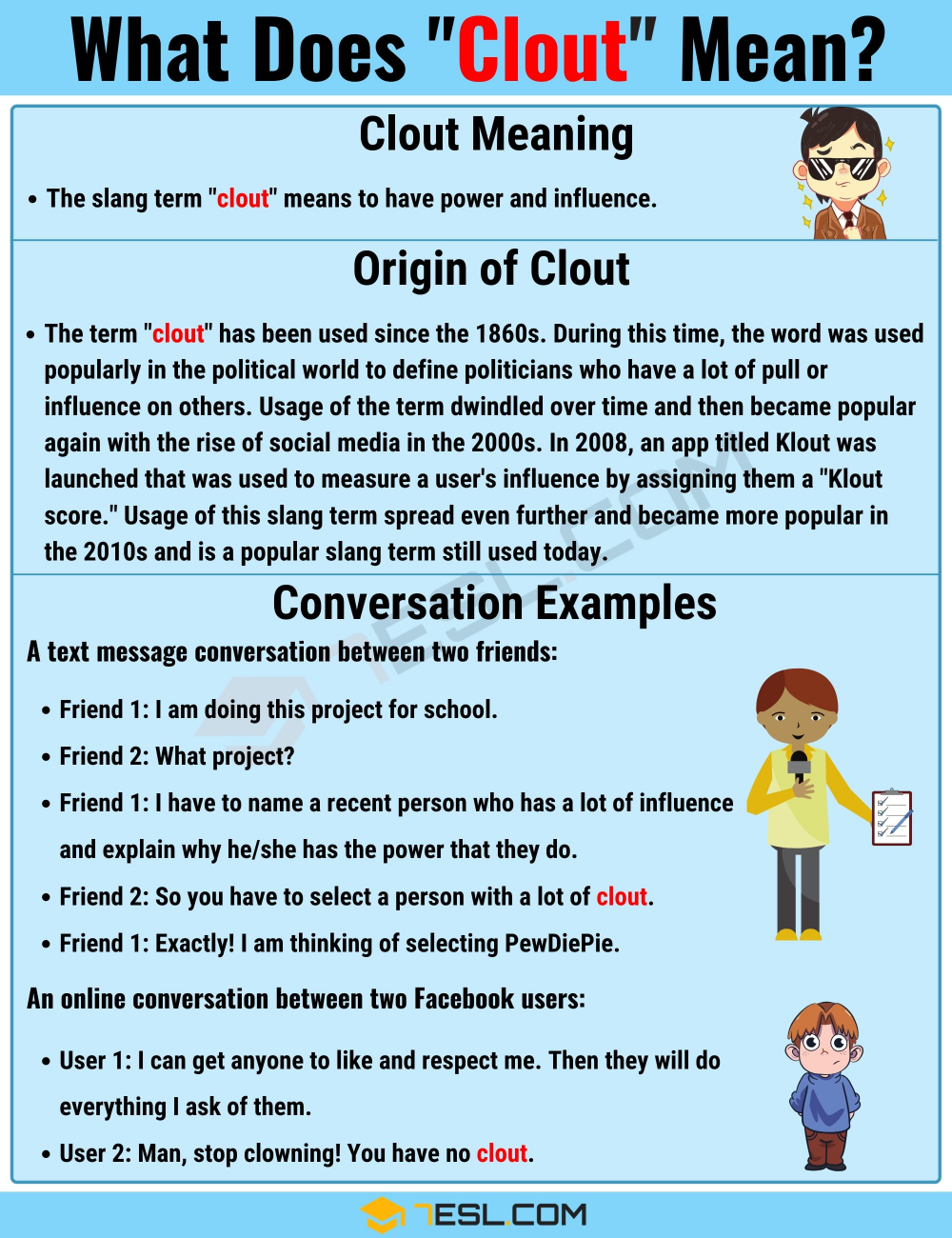 Clout Meaning What Is The Definition Of The Powerful Slang Term Clout 7esl Slang Words English Phrases Learn English For Free [ 1300 x 1000 Pixel ]