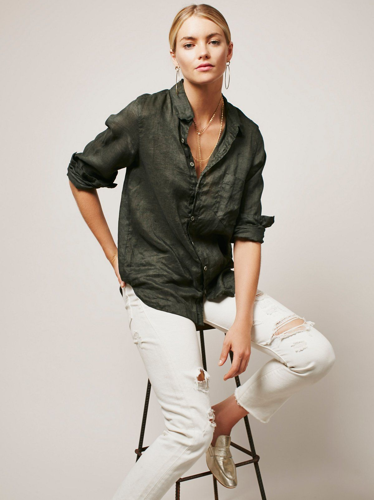 American made linen button down with a rounded high-low hem that makes it perfect for everyday wear. Large front pocket detail. A staple piece for every FP girl.