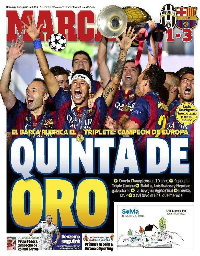 Portadas de los periódicos deportivos de España y Europa