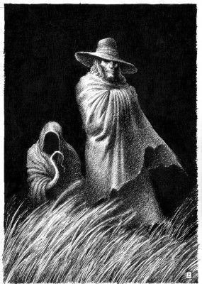 Count Magnus (M.R. James). Why do I always think the thing beside him is a dog? It would be a perfect image for Dog in his two principal manifestations. Well who knows, maybe it is.