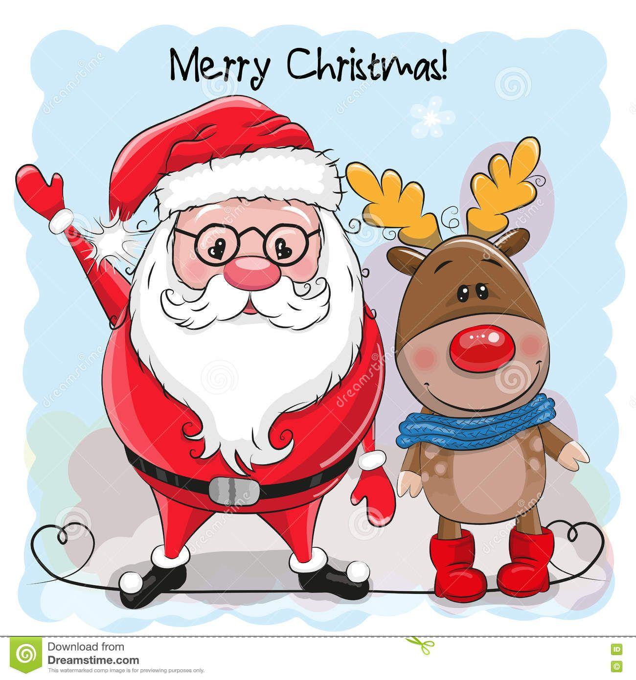 Ilustracion Acerca Ciervos Lindos Y Papa Noel De La Historieta De La Tarjeta De Navidad Del Saludo Dibujo De Navidad Afiches De Navidad Decoracion Navidad Unas