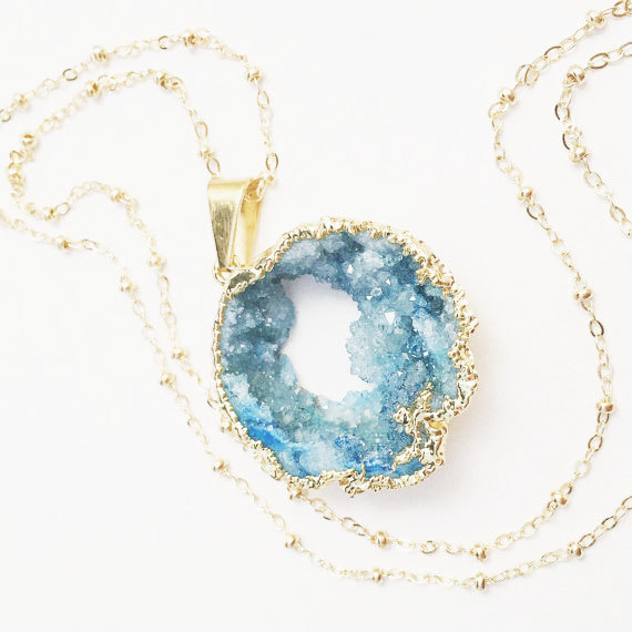 Photo of Long Aqua Druzy Necklace, Large Turquoise Natural Stone Pendant, Ocean Geode, Layering Jewelry, Beach Inspired