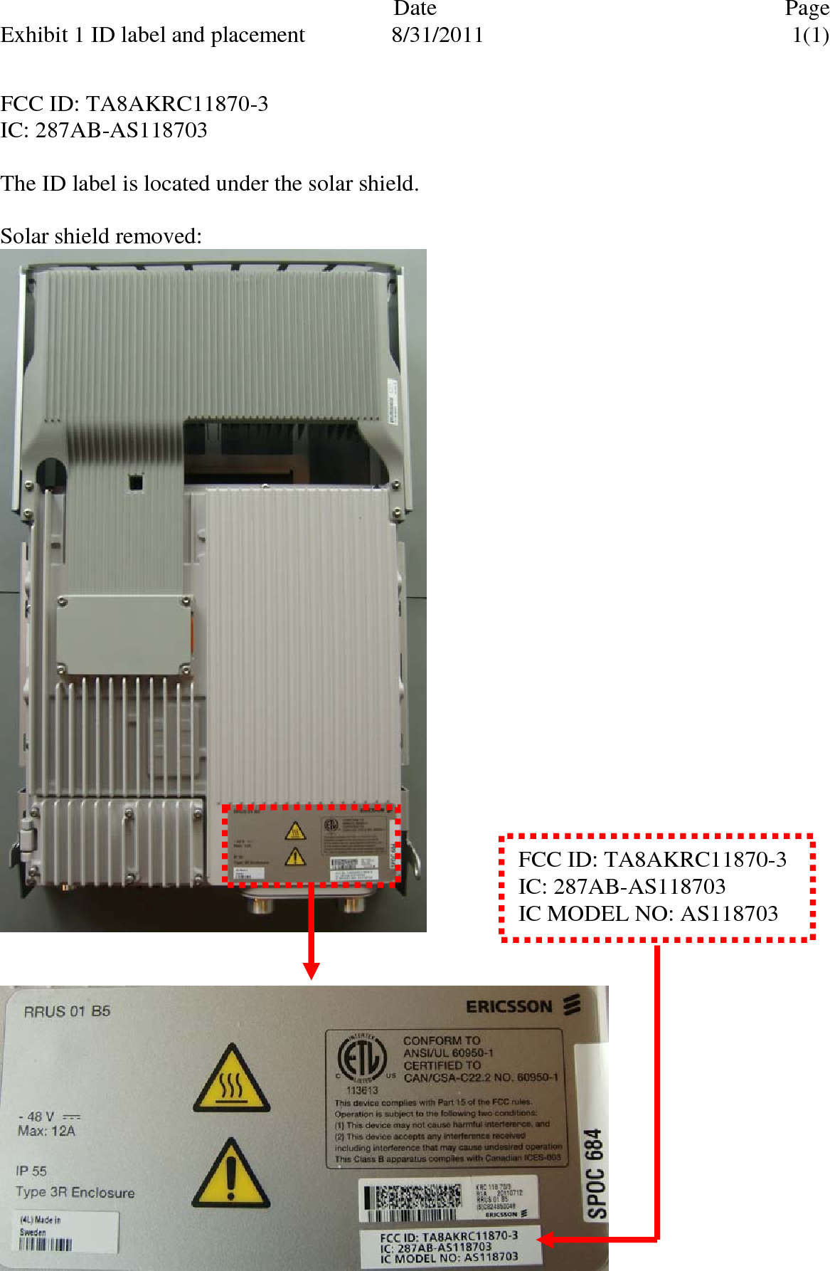 ERIC-A Ericsson AB 850 MHz GSM, WCDMA and LTE Base Station