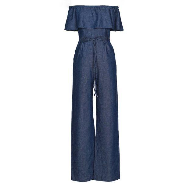 a05c4c03d15 Off Shoulder Denim Flounce Plain Wide-Leg Jumpsuit (300 HKD) ❤ liked on  Polyvore featuring jumpsuits