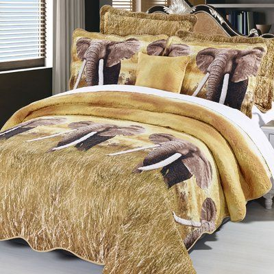 World Menagerie Rashad Elephant 3 Piece Coverlet Set Size: