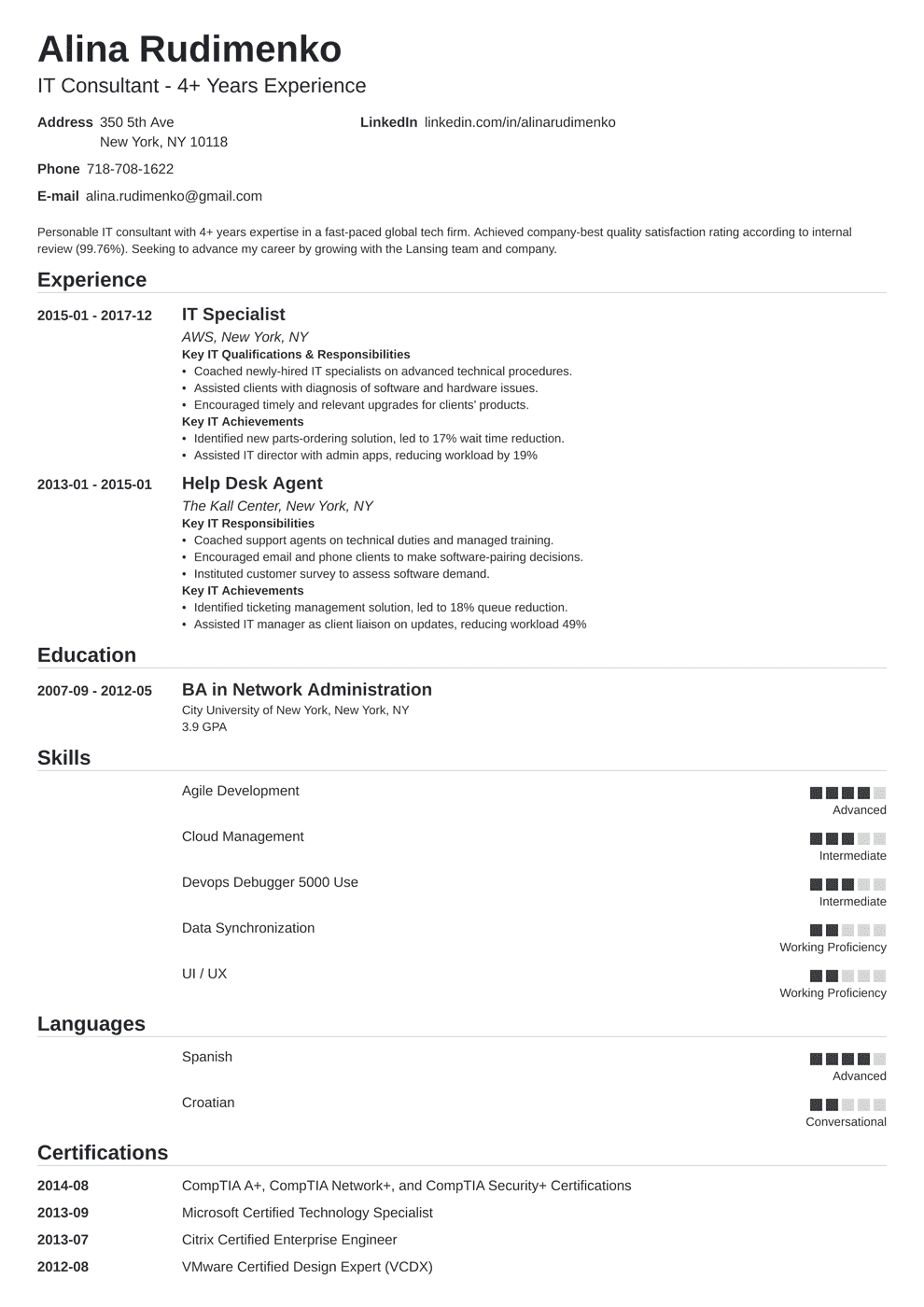 it resume template nanica in 2020 Resume examples, Job