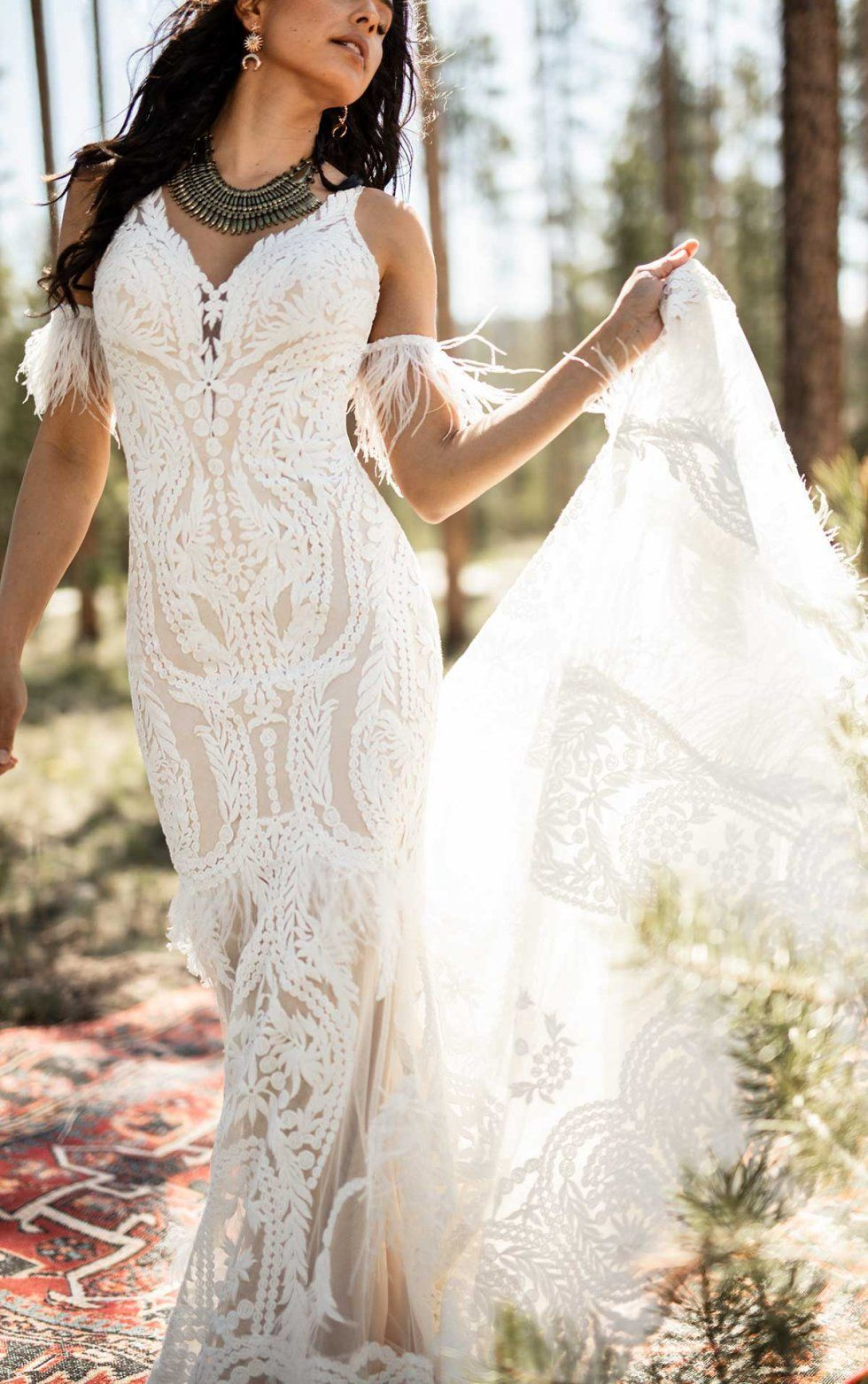 Boho Wedding Dress With Feather Details All Who Wander Wedding Dresses Wedding Dress With Feathers Bohemian Wedding Gown [ 1563 x 980 Pixel ]