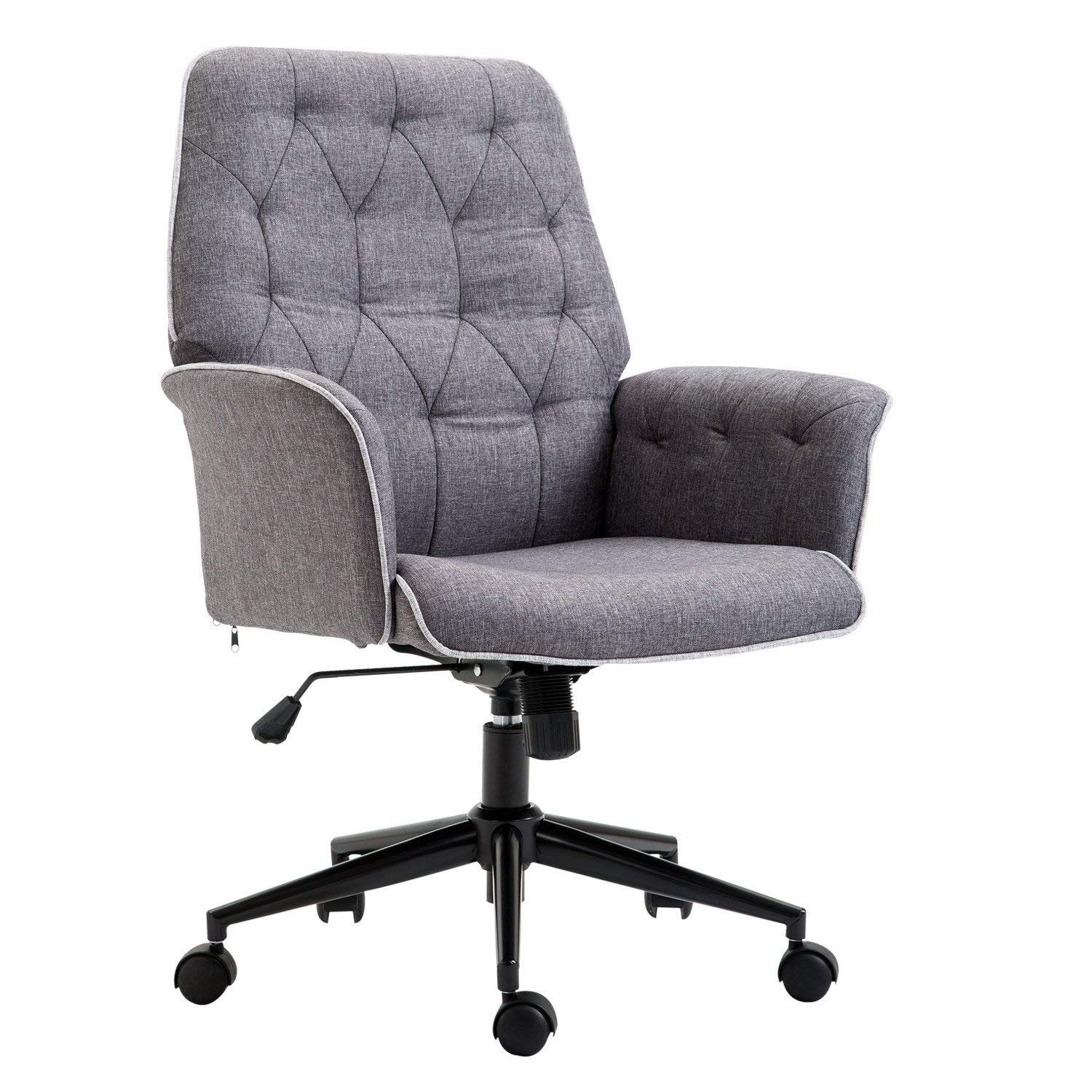 Adjustable modern linen upholstered office chair with