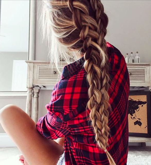 Casual Friday in a red flannel + dutch braid