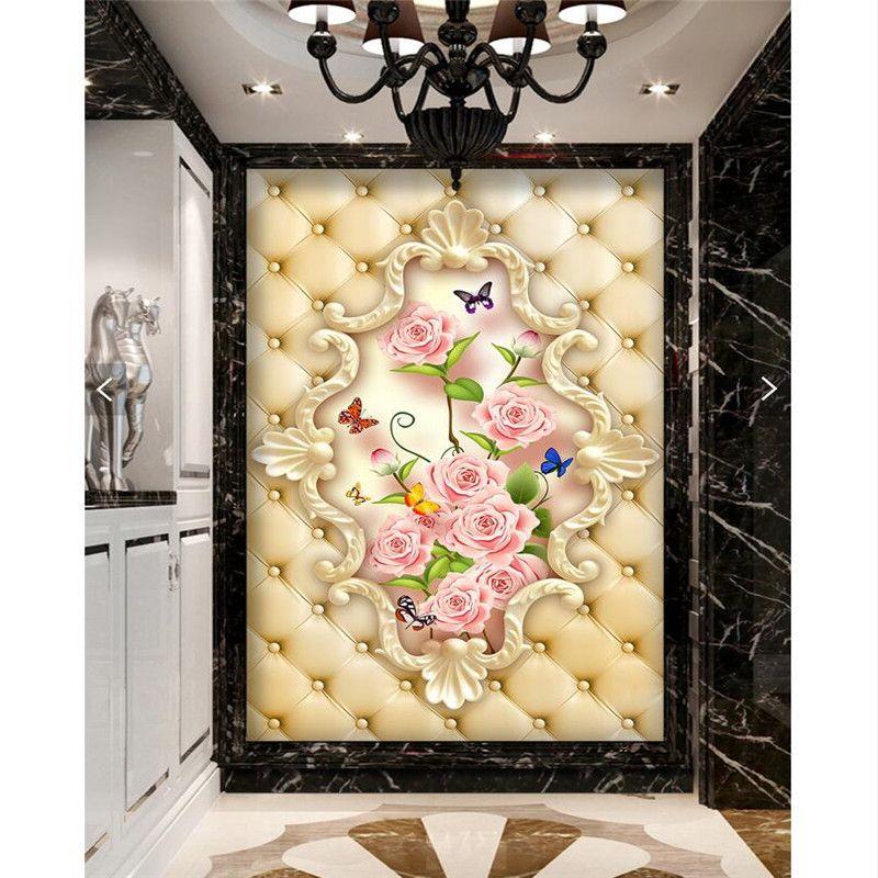 wall paper 3d art mural HD European soft pack Rose Restaurant Hotel ...