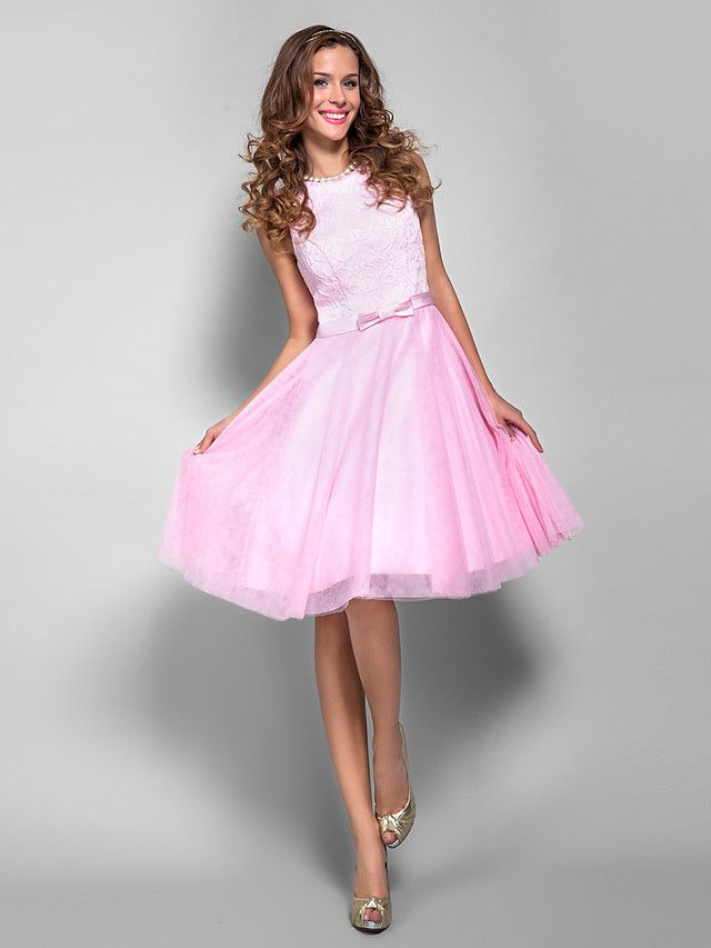 A-Line Princess Bateau Neck Knee Length Tulle Lace Bodice Cocktail ...