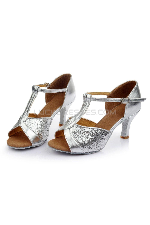 Women's Silver Sparkling Glitter Heels Sandals Latin Salsa ...