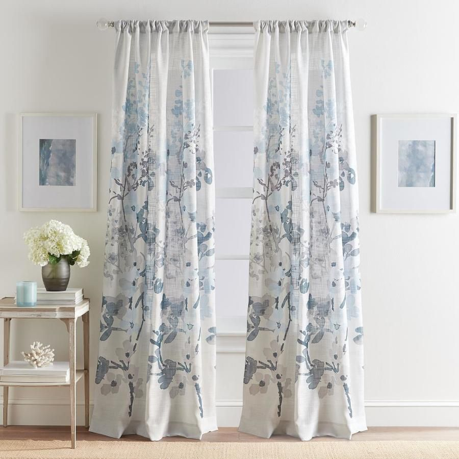 Chf Daphne Ii 84 In Blue Polyester Light Filtering Single Curtain