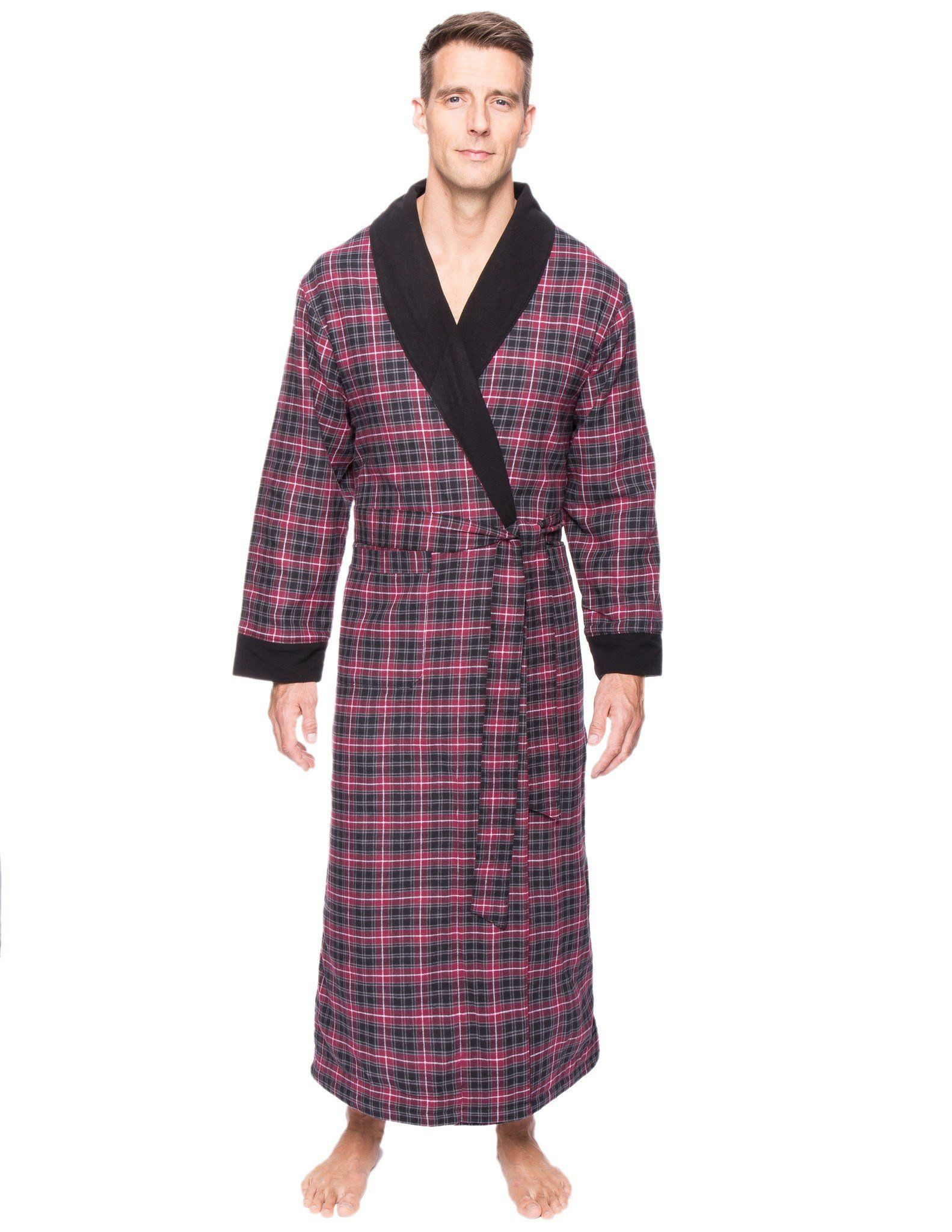 Men\'s Premium 100% Cotton Flannel Fleece Lined Robe | Flannels and ...