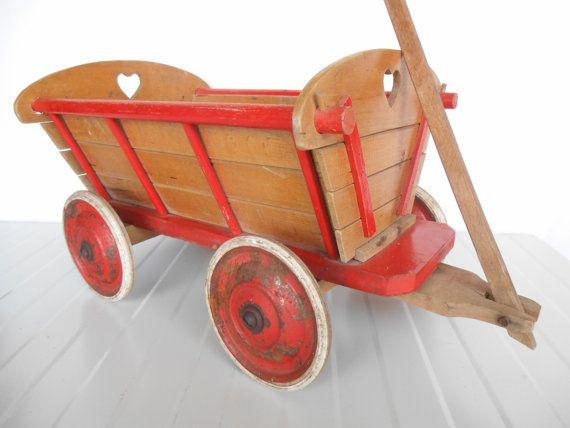 Vintage Bolderkar  Houten Bolderwagen  door AntiqueAndUnique2