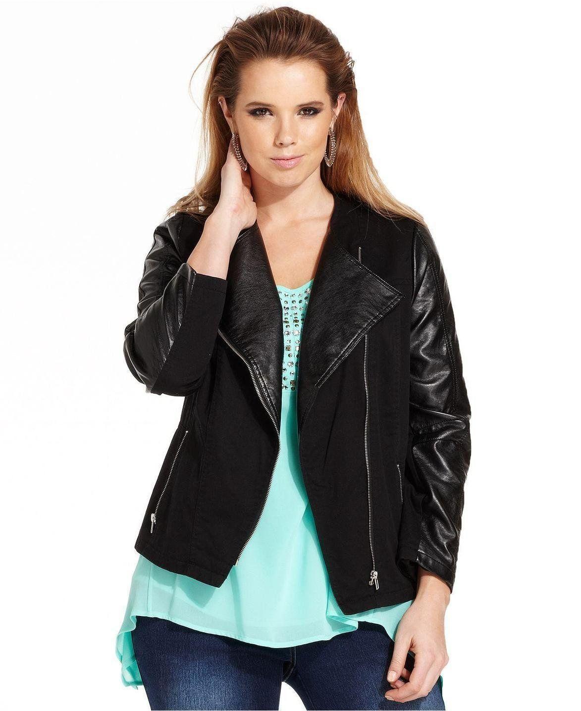 Plus Modamix Plus Size FauxLeather Moto Jacket Leather