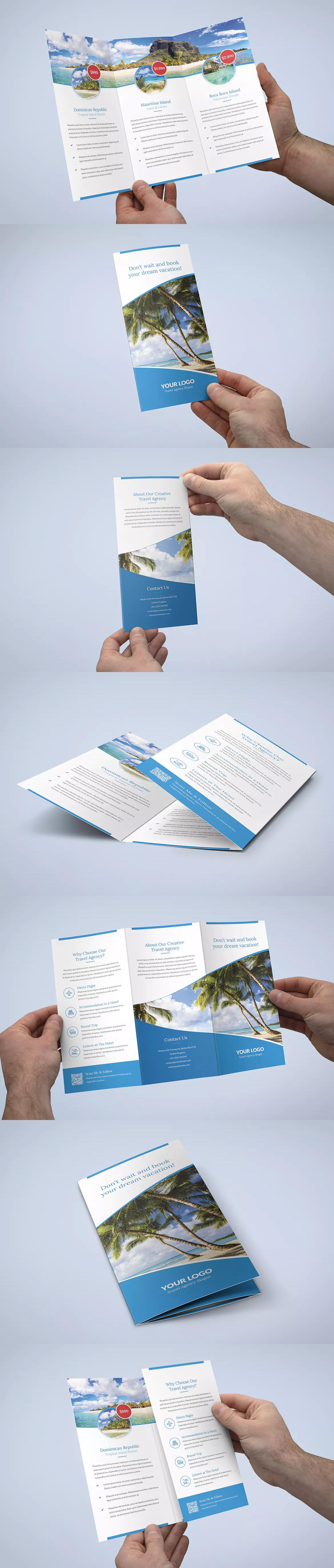 size of a tri fold brochure