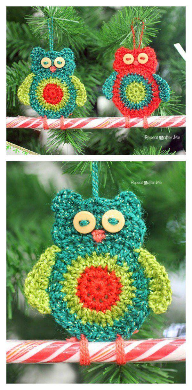 Crochet Owl Candy Cane Ornament Free Pattern   Bastones, Caramelo y ...