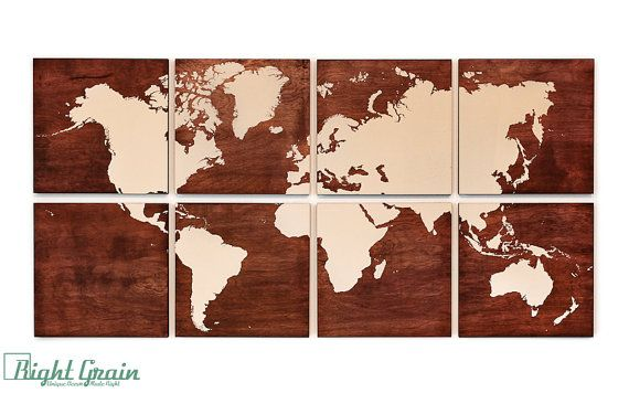 World map wall art on stained woodgrain panels by rightgrain world map wall art on stained woodgrain panels by rightgrain gumiabroncs Gallery