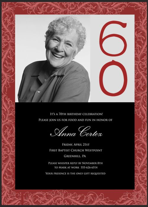 60th Birthday Party Invitations For Cynthia
