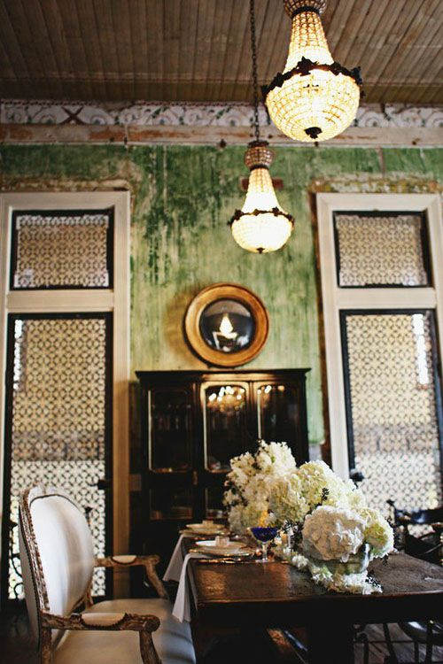 Wall Finish Doors And Light Fixtures Create Wonderful Sense Of Aged Splendor