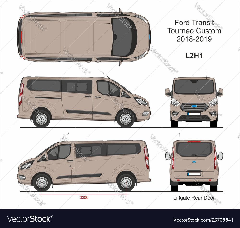 Ford Transit Tourneo Custom Passenger Van L2h1 Liftgate Rear Doors 2018 2019 Detailed Template For Design And Productio Ford Transit Transit Custom Custom Vans