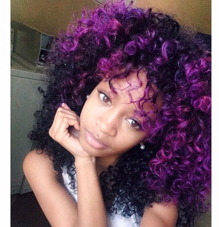 Purple Curly Hair Hair Color Pinterest Curly Hair Style And