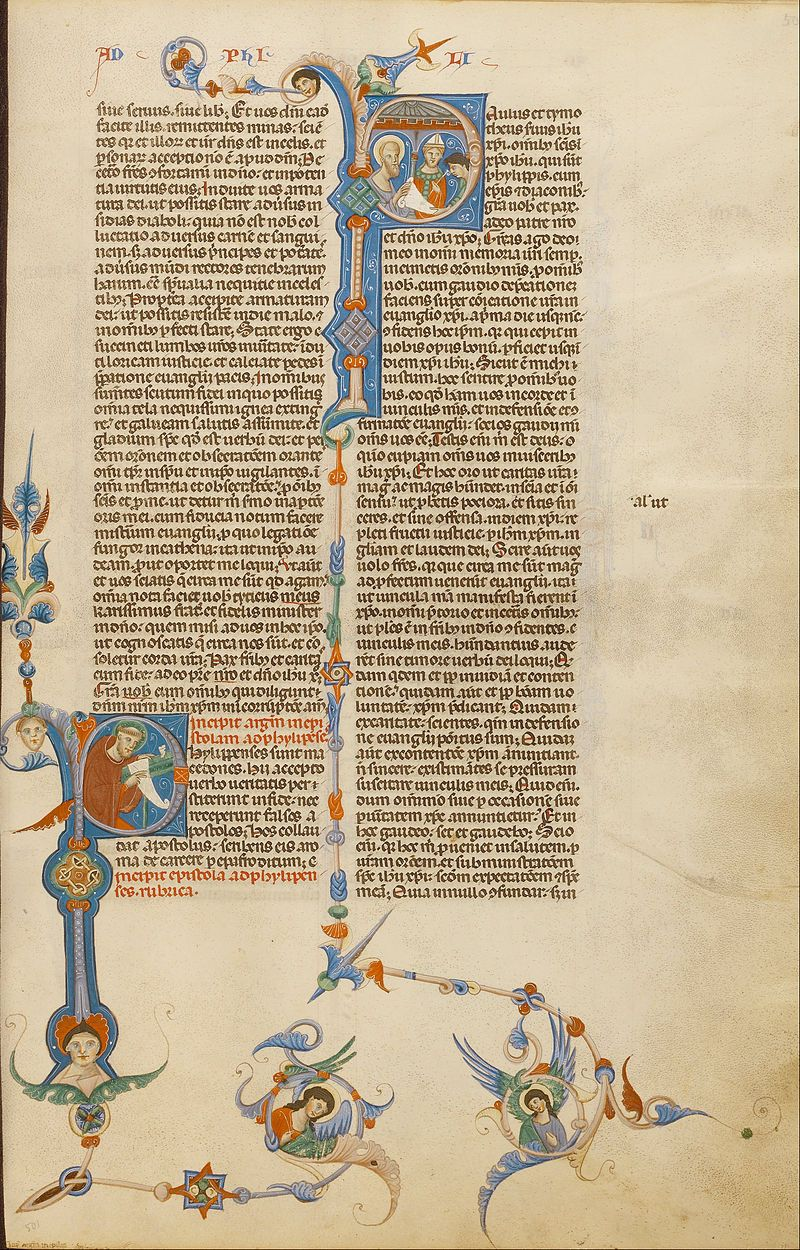 Initial P- Saint Paul; Initial P- A Bishop Giving a Letter to a Messenger - Google Art Project.jpg